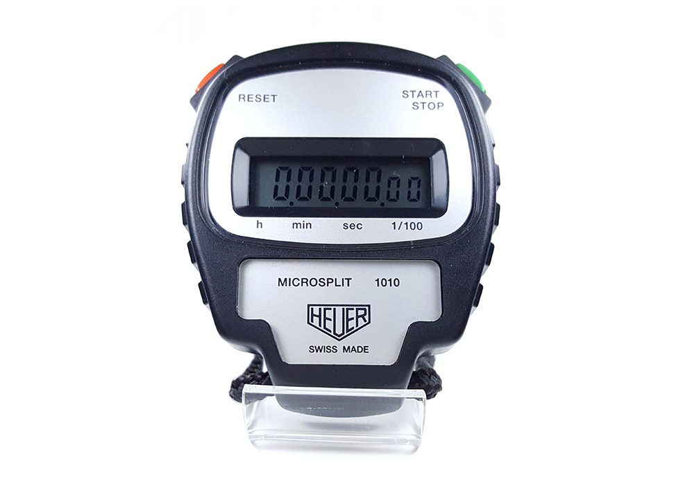 Vintage HEUER stopwatch ref. 1010 microsplit --- close-up shot (cover) --- ikonicstopwatch.com