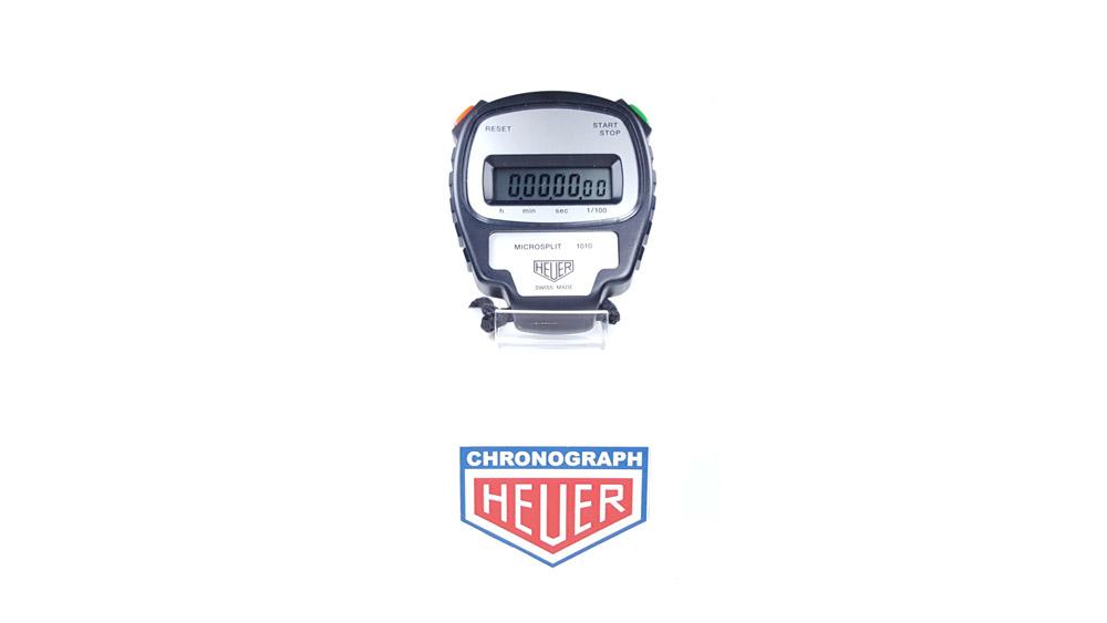 Vintage HEUER stopwatch ref. 1010 microsplit --- wide shot --- ikonicstopwatch.com