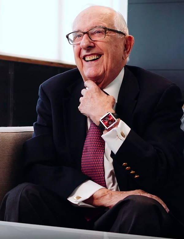 Jack Heuer wearing a red dial Monaco --- ikonicstopwatch.com