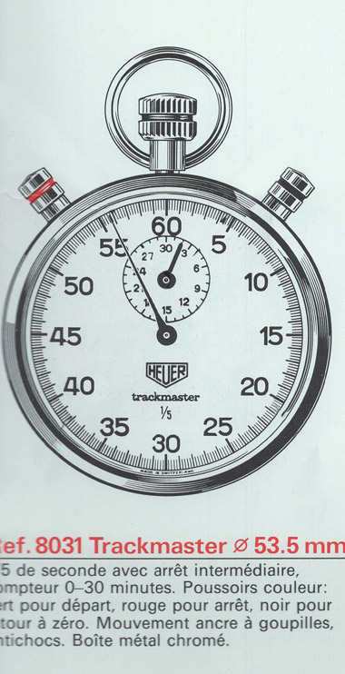 Vintage HEUER trackmaster 8031 stopwatch --- extract from a late 80's catalog (742 px) --- ikonicstopwatch.com