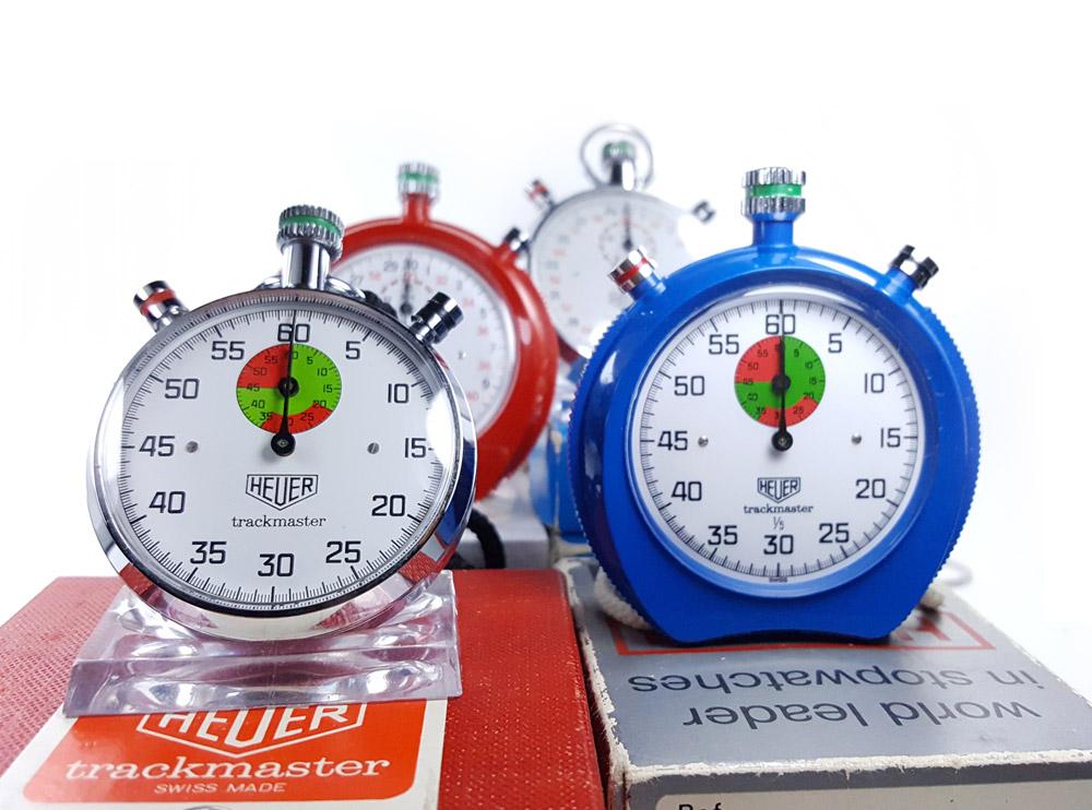 Vintage HEUER stopwatches trackmaster (8037, 8047, 8042, 8032) --- close up shot --- ikonicstopwatch.com