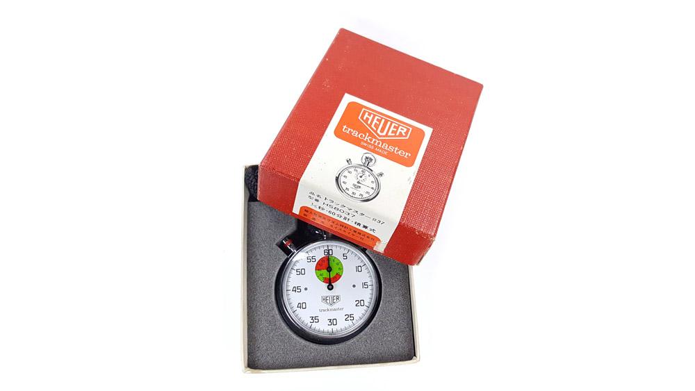 Chronomètre vintage HEUER ref. 8037 trackmaster (édition pour marché japonais) --- boite ouverte --- ikonicstopwatch.com