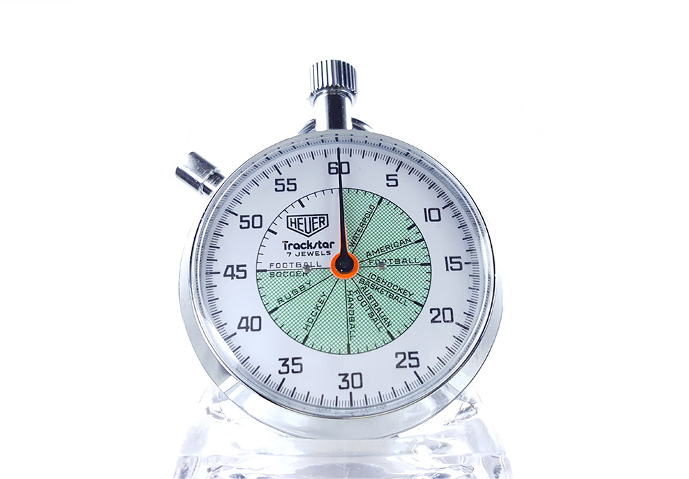 Vintage HEUER stopwatch ref. 653.302 trackstar (allsports) --- cover close-up shot --- ikonicstopwatch.com